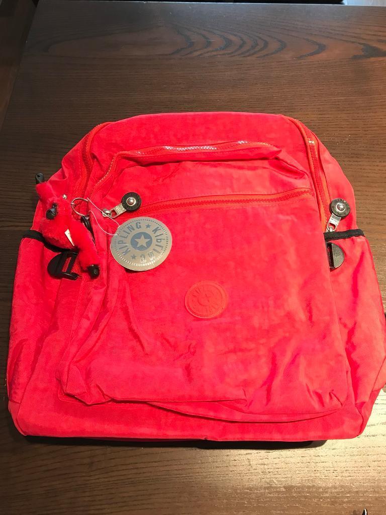 New red Kipling backpack