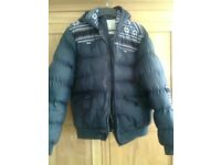 New Look padded jacket, mens, large, navy with patterned shoulders, excellent condition