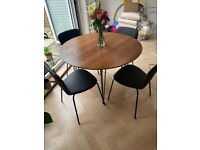 MADE com round dining room table with x4 chairs