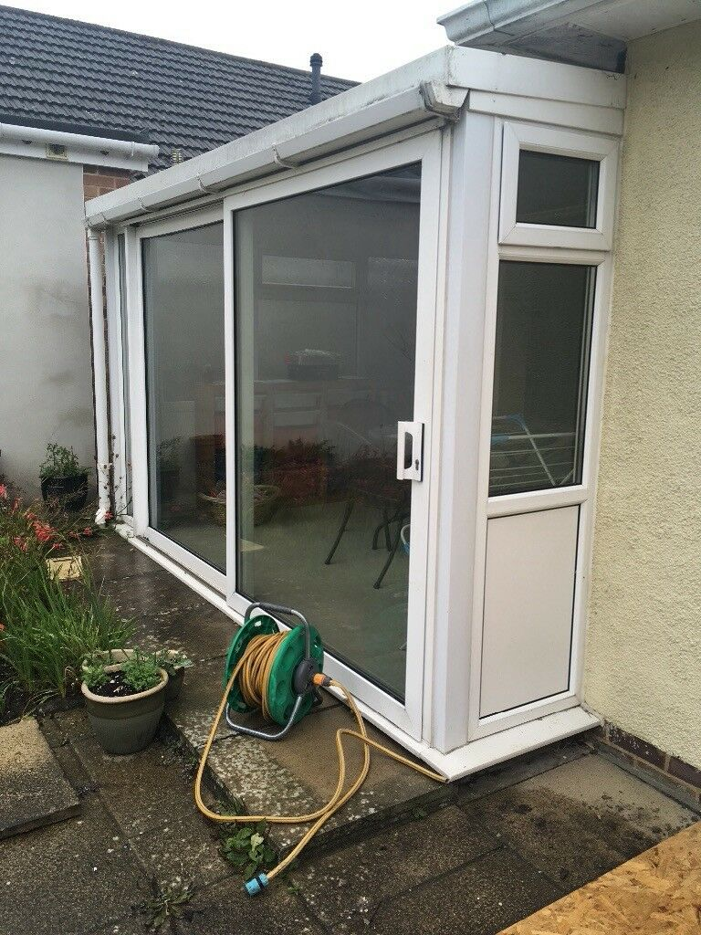 Conservatory 2 Walls Including Windows And Large Sliding Patio Doors In Broadstone Dorset Gumtree