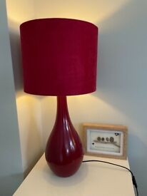 Large Red Table Lamp Light 63cm tall