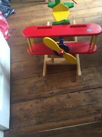 Good quality wooden toy aeroplane rocker