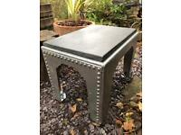 UNIQUE & HEAVY Upcycled Industrial Coffee Side Table Silver Rivotted Water Tank Slate