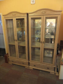 Limed Pine Display Cabinets