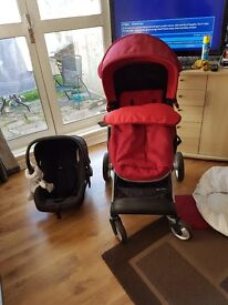 Mothercare Roam complete travel system in red