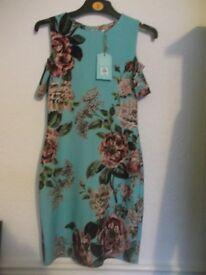 Oasis Royal Worcester Floral Cold Shoulder Dress Size S 8 10