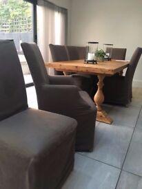 Restoration Hardware Dining Chairs. Belgium Linen, new condition.
