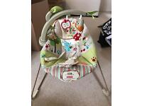 Fisher price vibrating baby bouncer rocker chair, with vibration and hanging toys