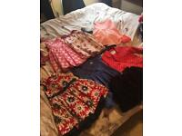 5 dresses coat and skirt Age 2-3 used but like new