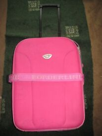 Small Pink and Grey Borderline Cabin Size Suitcase with Telescopic Handle and Wheels