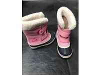 Girl's SOREL Pac Strap snow boots - excellent condition as only used once). Size 10.