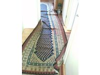 PERSIAN RUG/CARPET ANTIQUE HAND MADE RUNNER OVER 100 YEARS OLD, 100% PURE WOOL AND NATURAL DYE