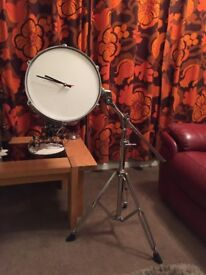 UNUSUAL ELECTRIC CLOCK CONVERSION FROM DRUM KIT (BATTERY OPERATED)
