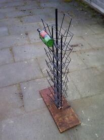industrial reclaimed rack re-purposed wine rack -paper rack card rack display -holder