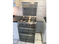 Indesit KDP60SES Dual Fuel Cooker with Gas Hob Free Standing Stainless Steel