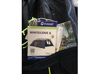 Outwell Whitecove 6 man tent with addition Front extension.