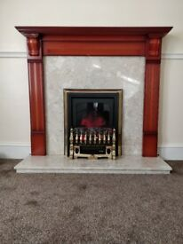 Electric Fire, marble and wood surround and hearth