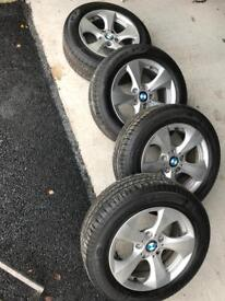 4 BMW ALLOYS WITH TYRES