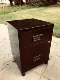 Filing Cabinet Black metal 2 drawer on wheels m with keys