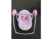 Used Bright Starts pink Battery operated Swing / Rocker chair.