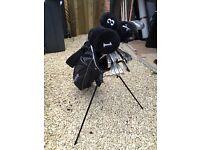 Golf clubs and folding golf trolley