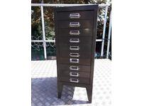 Vintage Industrial Green 10 Drawer Filing Cabinet
