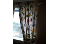 Nursery curtains animal print lined with tie backs