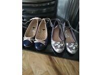 Next Girls silver glitter shoes, brand new size 2, Debenhams navy patent shoes size 2.