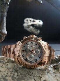 Rose Gold Rolex Daytona With silver face & rose Gold Bracelet All complete in Rolex box bag & papers
