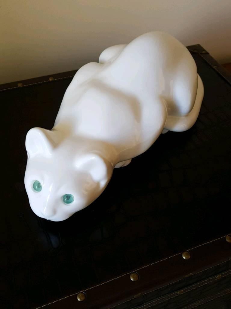Vintage Large Ceramic White Cat .