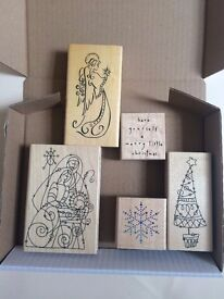 Five Christmas rubber stamps for card making or paper craft, collection only