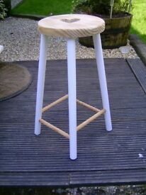 Wooden barstool with heart seat