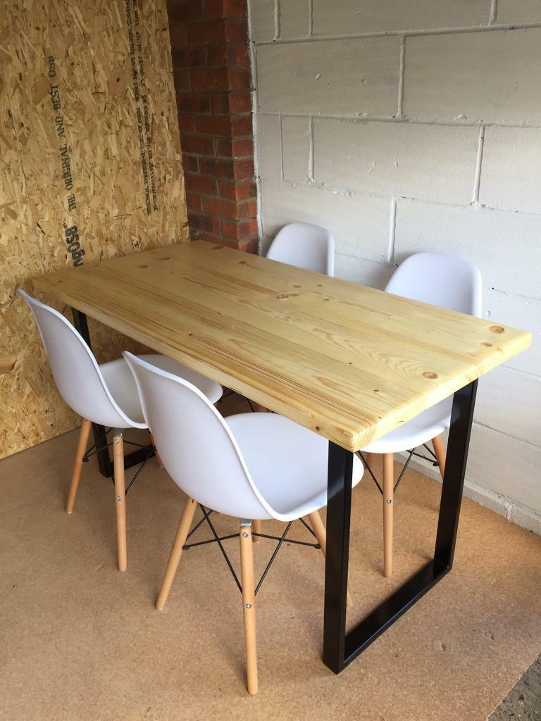 Handmade rustic scaffold board dining table with steel legs and 4x chairs delivery available