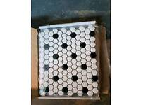 Waxman ceramic mosaic black and whote hexagon shape