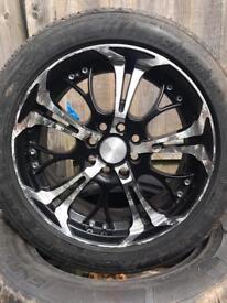 "15"" dare ghost alloys tyres 4/108 4/100 fiesta etc"