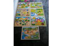 7X Wooden jigsaw puzzles