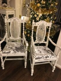 Vintage shabby chic pair of chairs