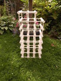 Shabby Chic Wine Rack Antique White waxed Wood