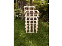 Shabby Chic Wine Rack Antique White waxed Wood