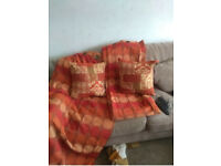 Chenille curtains and cushions
