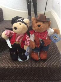 Soft Teddy Bears 1 Sheriff And 1 Pirate Bear