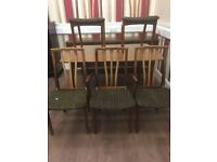 Retro style dining table with extending leaf and 5 chairs