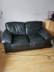 FREE to collector,Sofas,3 seater and 2 seater black leather