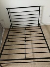 Black metal double bed frame, flat pack self assemble, instructions and Allen key included