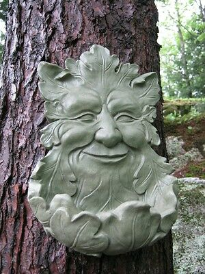 Green Man Face, Concrete Hanging Bird Feeder, Garden Decor, Forest Protector