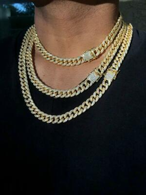 Men 14k Gold Diamond Miami Cuban Link Chain Choker Necklace Finish Iced Out ICY