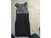 Lovely black pink floral dress from Dunnes size 8 party wedding