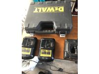 Assorted dewalt power tools battery chargers and empty droid box
