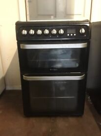 Hotpoint ultima gas cooker 60cm black double oven FSD 3 months warranty free local delivery!!!!!