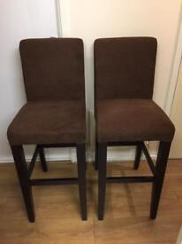 SET OF 2 TWO CHAIRS HIGH KITCHEN DINING BROWN